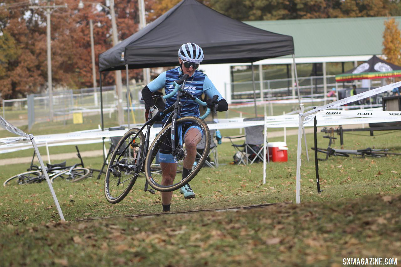 Feldy Poof did not go sendy on the coffins. 2019 Cross Fire Halloween Race, Wisconsin. © Z. Schuster / Cyclocross Magazine