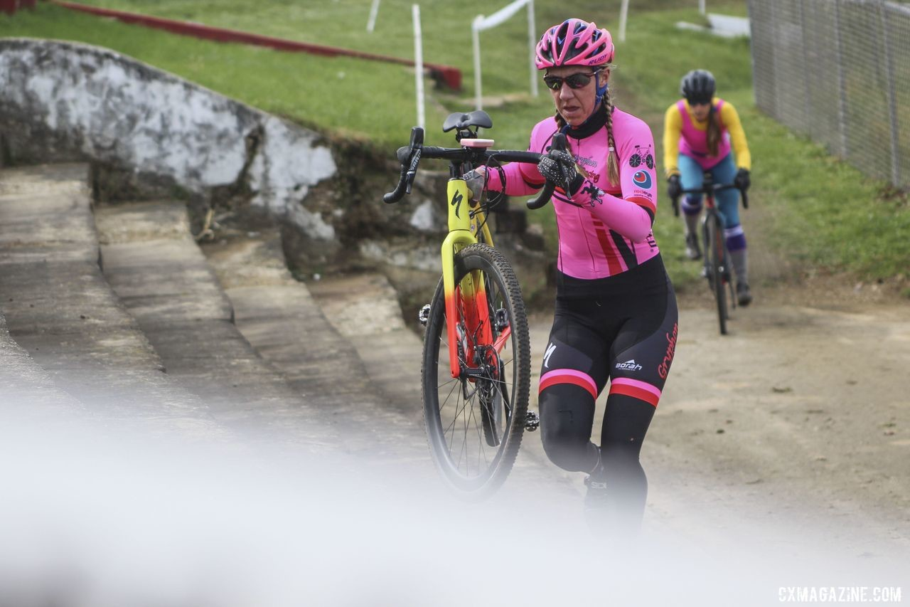 Julie Phelps tackles the stone stairs. 2019 Cross Fire Halloween Race, Wisconsin. © Z. Schuster / Cyclocross Magazine