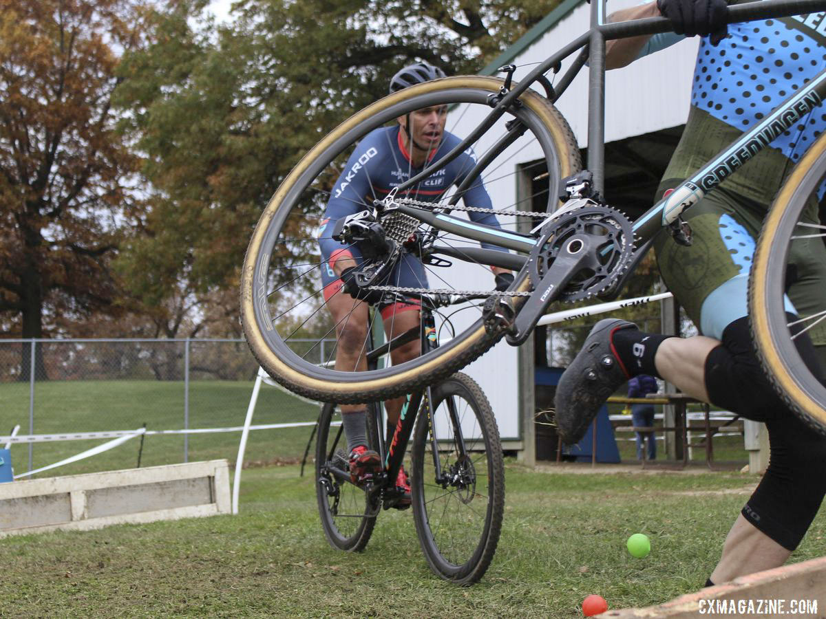 Carlos Casali gets ready to hop the barriers. 2019 Cross Fire Halloween Race, Wisconsin. © Z. Schuster / Cyclocross Magazine