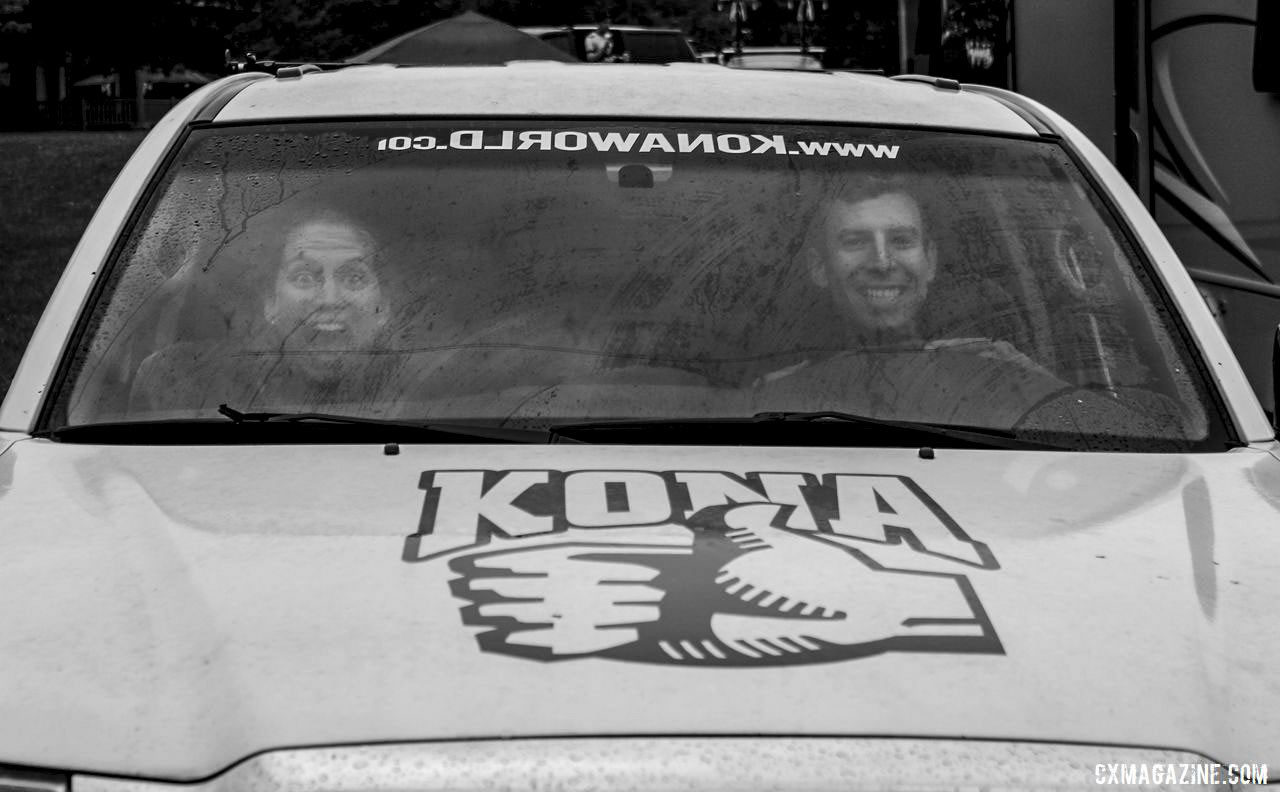 Becca Fahringer and Kerry Werner travel in style in the Kona truck. 2019 Rochester Cyclocross Friday Pre-Ride. © Z. Schuster / Cyclocross Magazine