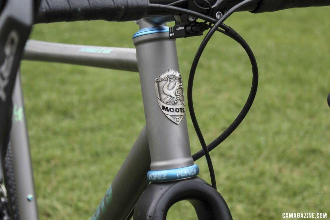 Moots does not paint its frames, instead allowing the satin surface of the titanium give the bike its colorway. Brannan Fix's 2019/20 Moots Psychlo X RSL Cyclocross Bike. © Z. Schuster / Cyclocross Magazine