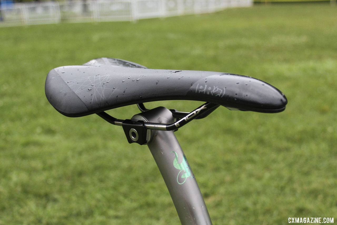 Fix ran a Pro saddle held by a Moots titanium seatpost. Brannan Fix's 2019/20 Moots Psychlo X RSL Cyclocross Bike. © Z. Schuster / Cyclocross Magazine