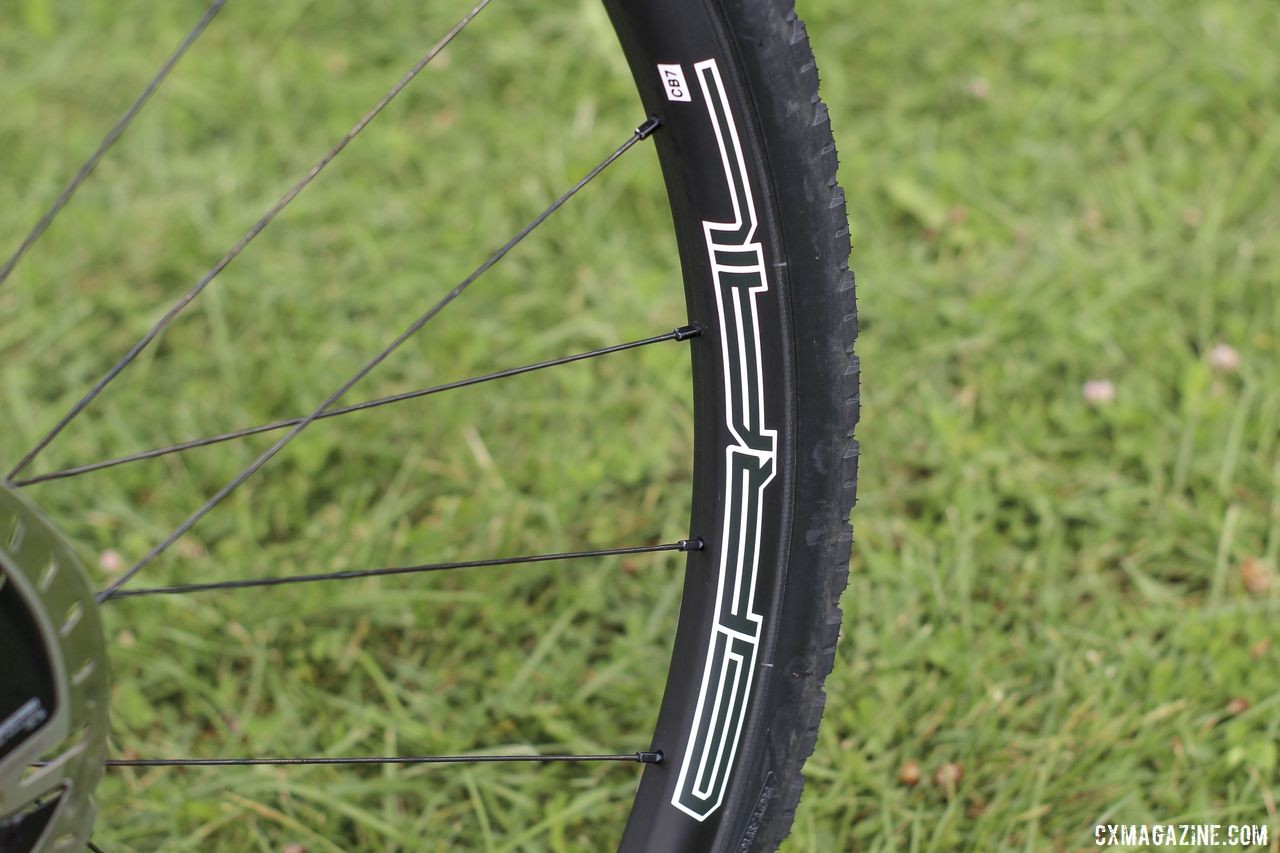 McFadden ran the Stan's Grail CB7 ultralight carbon tubeless clinchers. Courtenay McFadden's Pivot Vault Cyclocross Bike. © Z. Schuster / Cyclocross Magazine