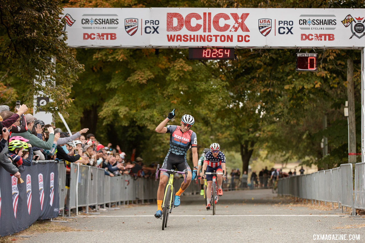 Kerry Werner sprints to a DCCX Day 1 win. photo: B. Buckley