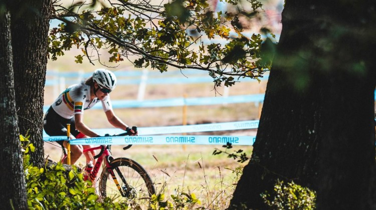 Maghalie Rochette kept the CX Fever raging on Day 1. 2019 FayetteCross, Fayetteville, Arkansas. © Kai Caddy