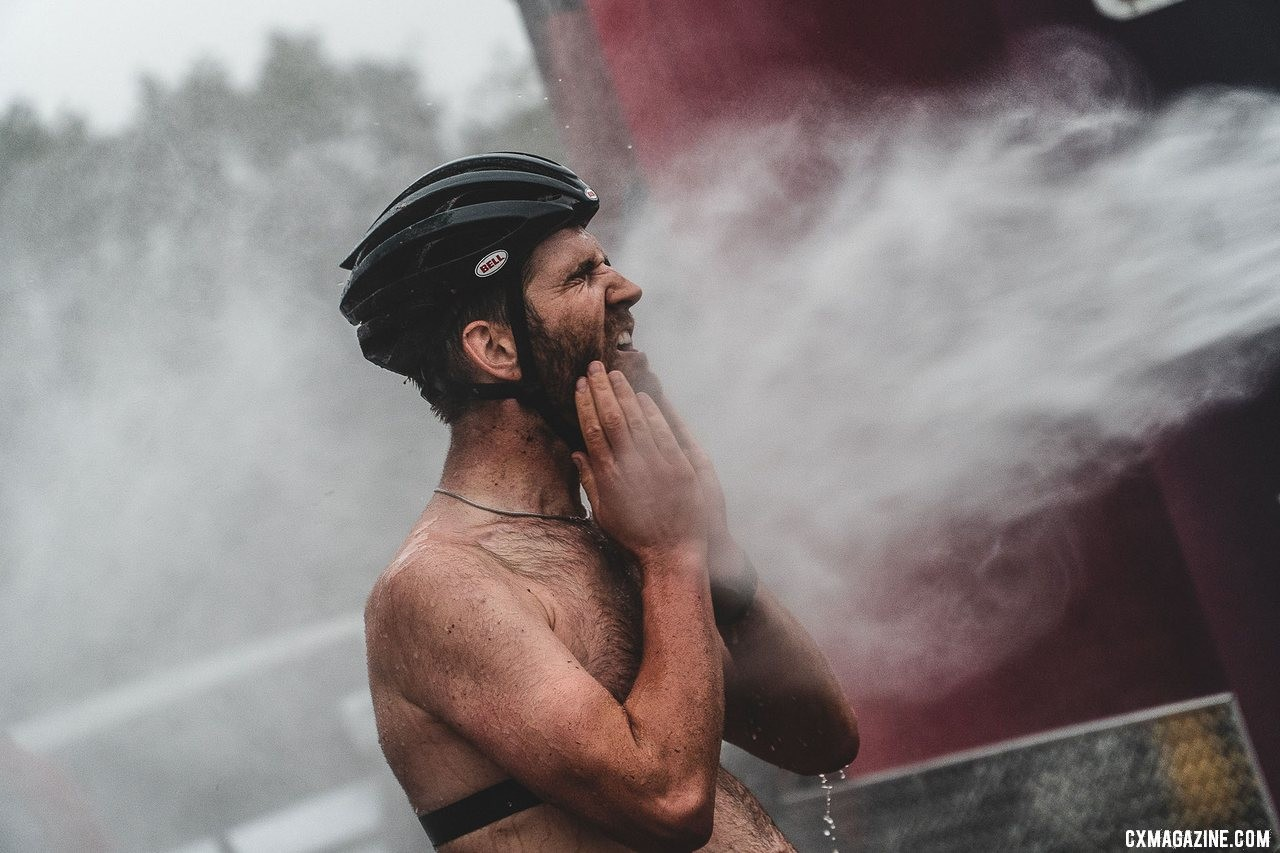 The bike wash became a full body wash. Ortenblad cleans up. 2019 FayetteCross, Fayetteville, Arkansas. © Kai Caddy
