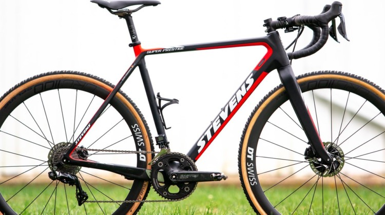 Gianni Vermeersch's Stevens Super Prestige cyclocross bike is a 54cm and weighs 17.03 pounds, as seen, with pedals. © A. Yee / Cyclocross Magazine