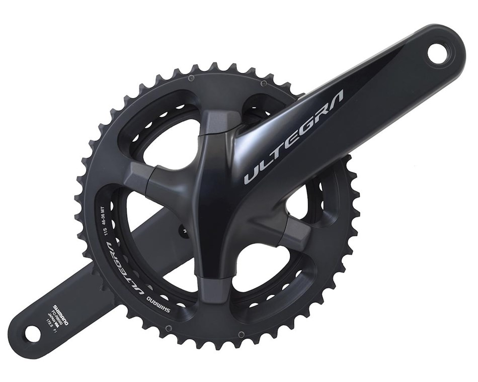 Shimano's Ultegra R8000 crankset with 46/36 chain rings is still the best option for a cyclocross double, but it won't work with the GRX front derailleur.