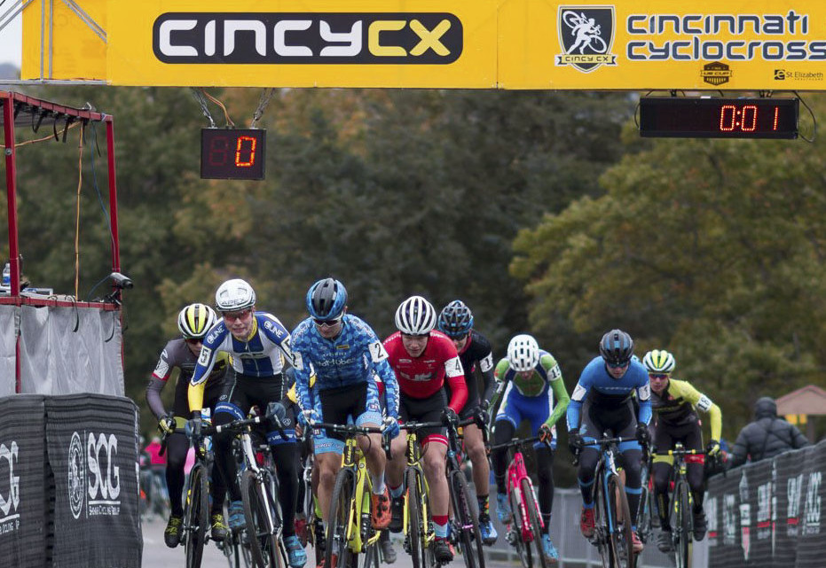 Lane Maher was patient, but made sure he was out front of any first lap chaos. Junior Men, 2017 Cincinnati Cyclocross, Day 2, Harbin Park. © Cyclocross Magazine