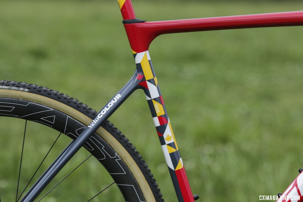 The seat tube features a custom design by VeloColour. Michael van den Ham's Canadian Champ Giant TCX Advanced Pro. © D. Mable / Cyclocross Magazine