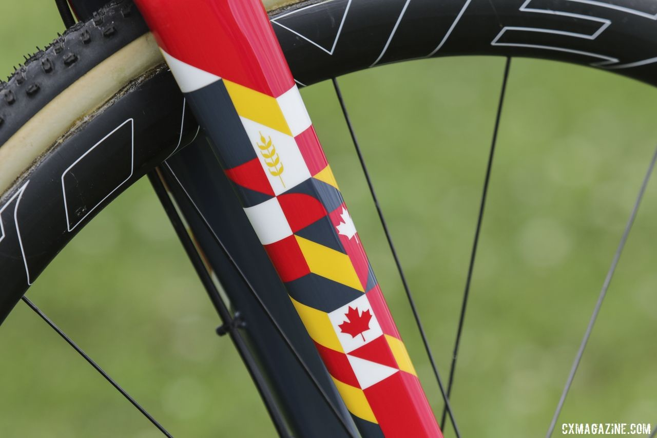 The design on Van den Ham's fork includes a Maple Leaf and stalk of wheat. Michael van den Ham's Canadian Champ Giant TCX Advanced Pro. © D. Mable / Cyclocross Magazine