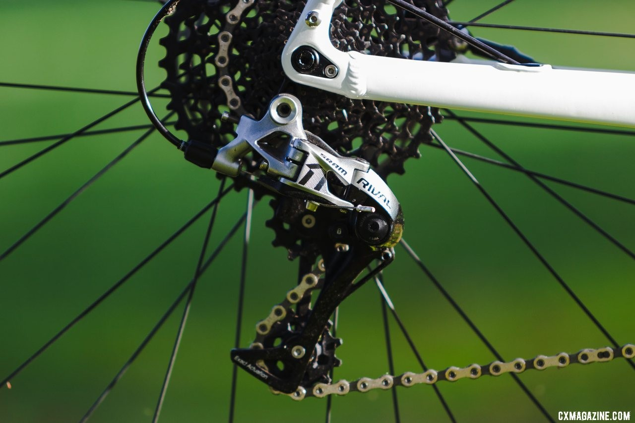 SRAM Rival and 10-42 XD cassette offers sufficient wide-range gearing for weekend warriors, trail riding and a bit of gravel grinding. The Noble CX3 alloy cyclocross bike. © A. Yee / Cyclocross Magazine
