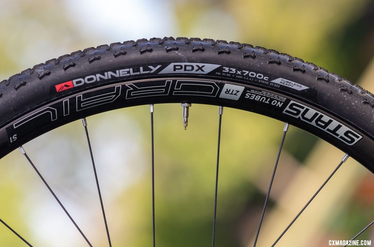 The Donnelly PDX mud tires are ready for soft or sloppy conditions, bear wear quickly in dry riding. Noble CX3 alloy cyclocross bike. © A. Yee / Cyclocross Magazine