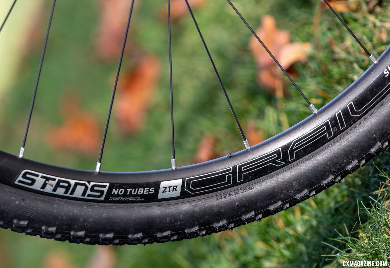 The updated Stan's No Tubes Grail rim makes for easy tubeless setup of the Donnelly PDX tires. The Noble CX3 alloy cyclocross bike. © A. Yee / Cyclocross Magazine