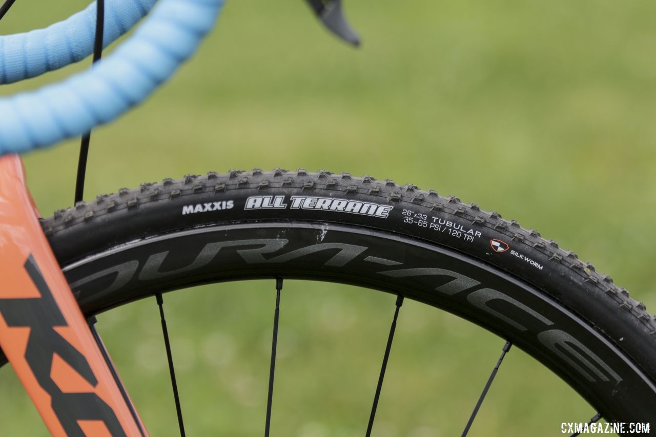 Maxxis All Terrance 700c x 33mm tubulars are one of the tire choices Fahringer has to choose from. Rebecca Fahringer's Kona Super Jake Cyclocross Bike. © D. Mable / Cyclocross Magazine