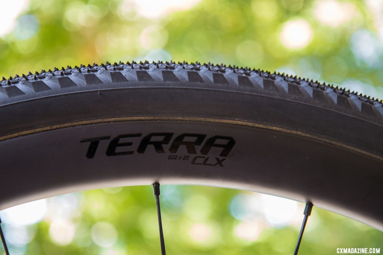 The 25mm-wide Terra CLX with a Specialized Trigger 38mm gravel tire. © A. Yee / Cyclocross Magazine