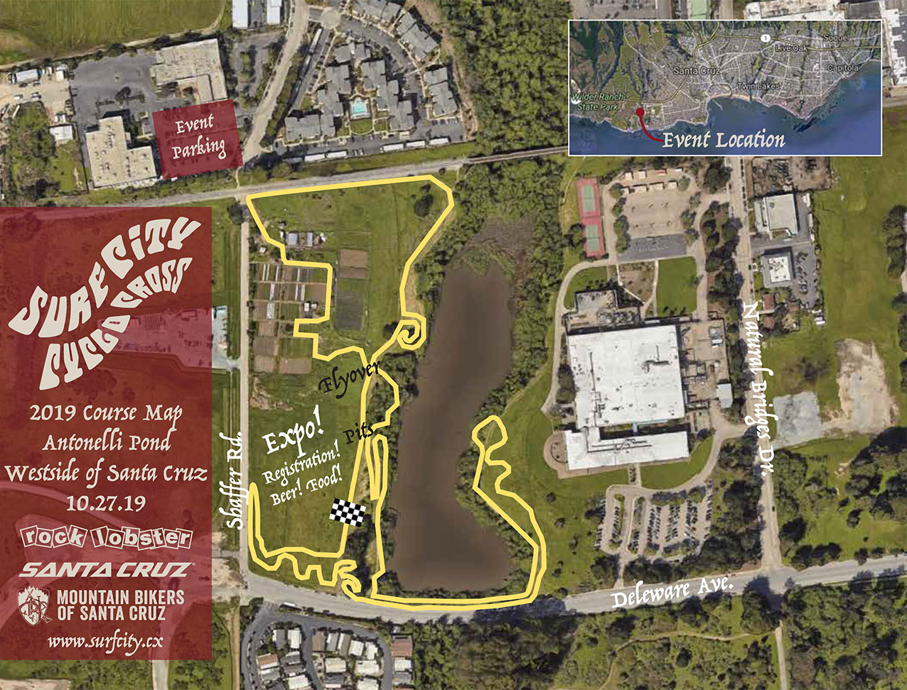 The 2019 Surf City CX Course map at Antonelli Pond