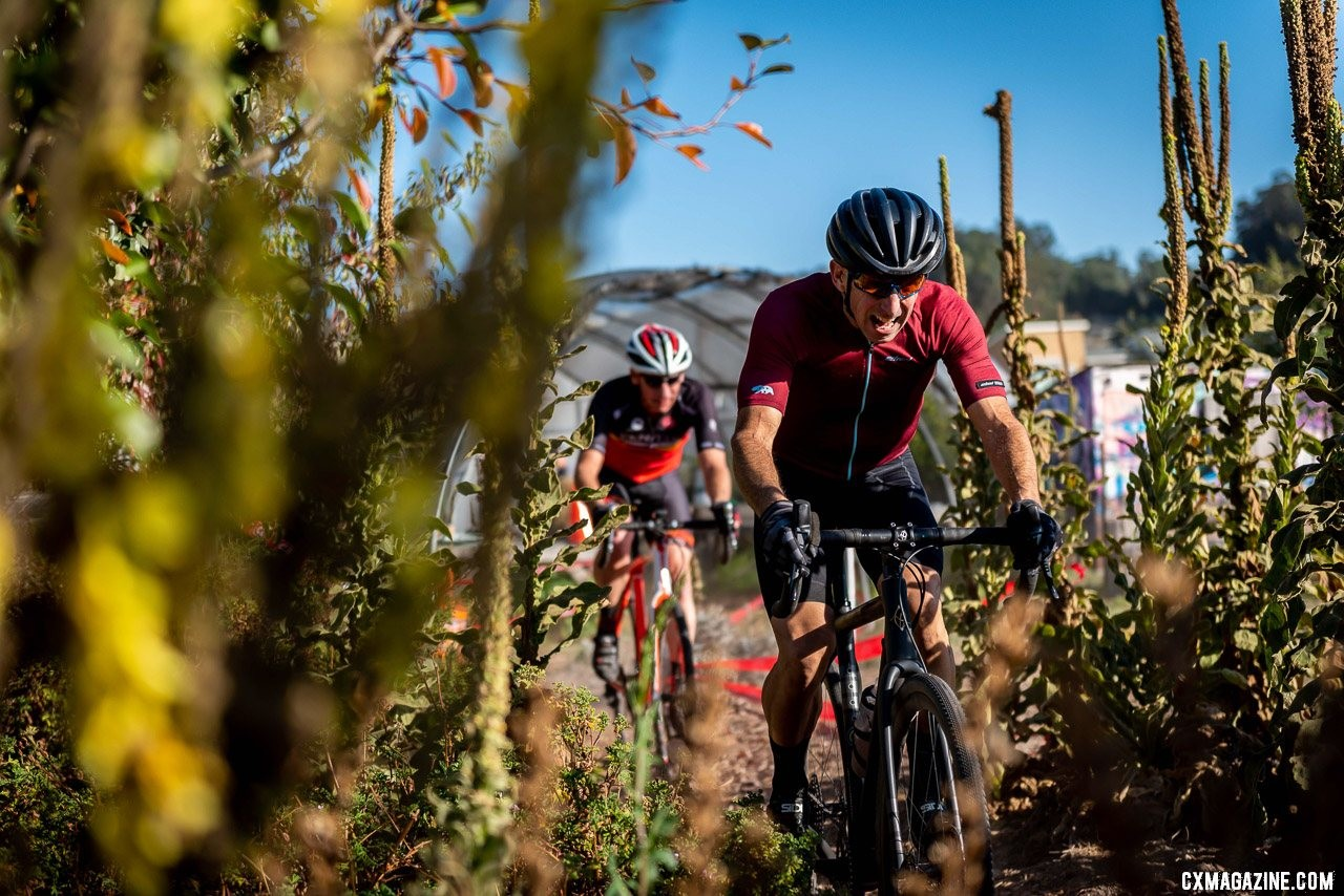 One section of the course ran through a community garden - including a greenhouse. 2019 Surf City CX. © Jeff Vander Stucken