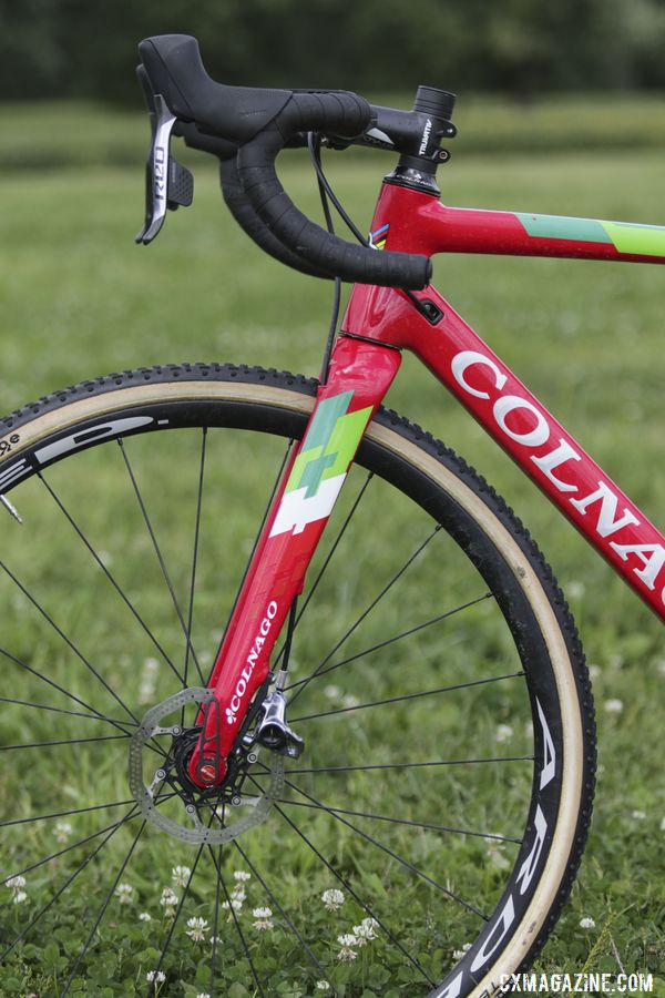 The Prestige has an all-carbon fork. Maria Larkin's Colnago Prestige Cyclocross Bike. © D. Mable / Cyclocross Magazine
