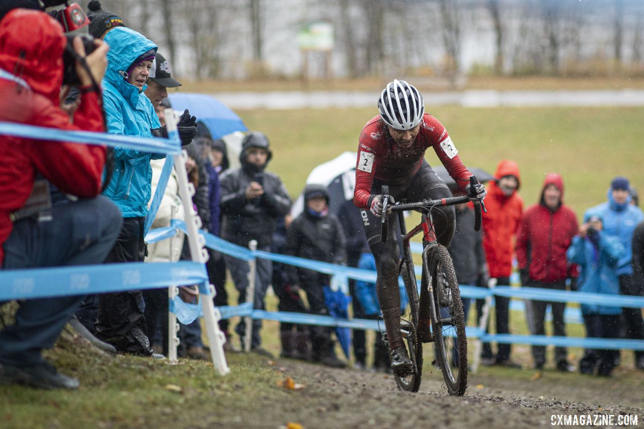 Jenn Jackson was aggressive early in Saturday's race. 2019 Shimano Canadian Cyclocross National Championships. © Nick Iwanyshyn