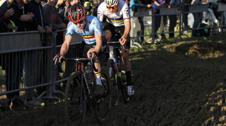 Eli Iserbyt and Mathieu van der Poel were in the spotlight Sunday. 2019 European Cyclocross Championships, Silvelle, Italy. © B. Hazen / Cyclocross Magazine