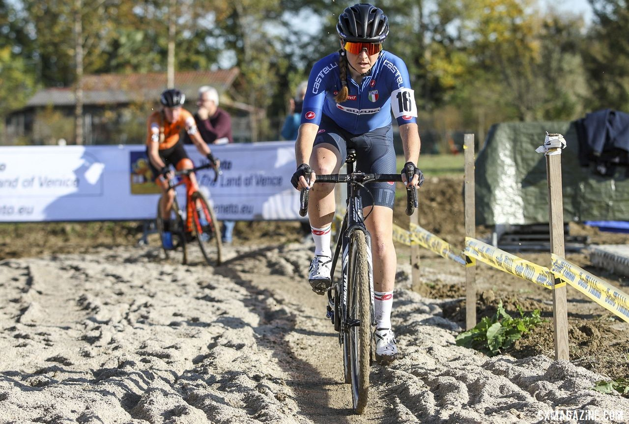 Eva Lechner had a strong ride, finishing second. 2019 European Cyclocross Championships, Silvelle, Italy. © B. Hazen / Cyclocross Magazine