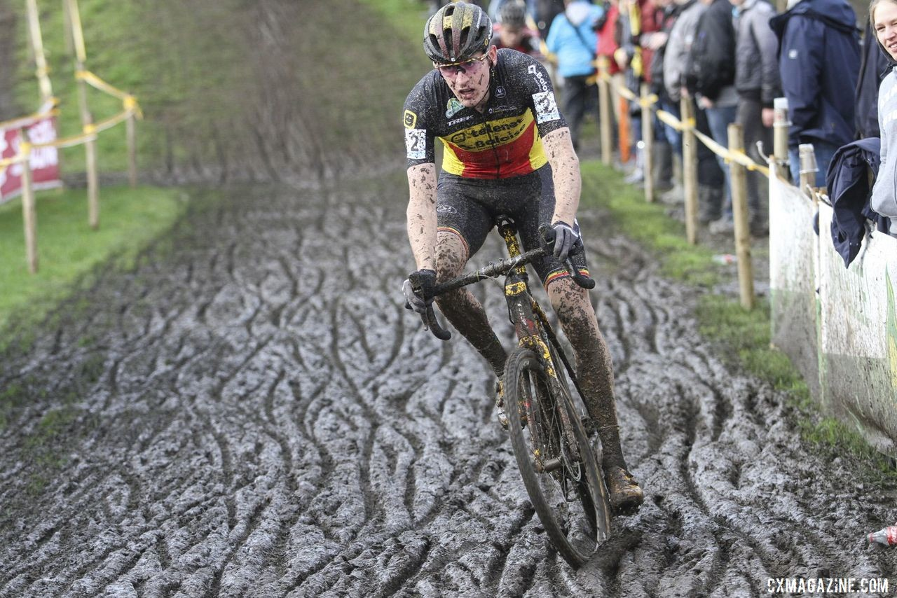 Toon Aerts came away with the bronze Sunday. 2019 Superprestige Ruddervoorde. © B. Hazen / Cyclocross Magazine