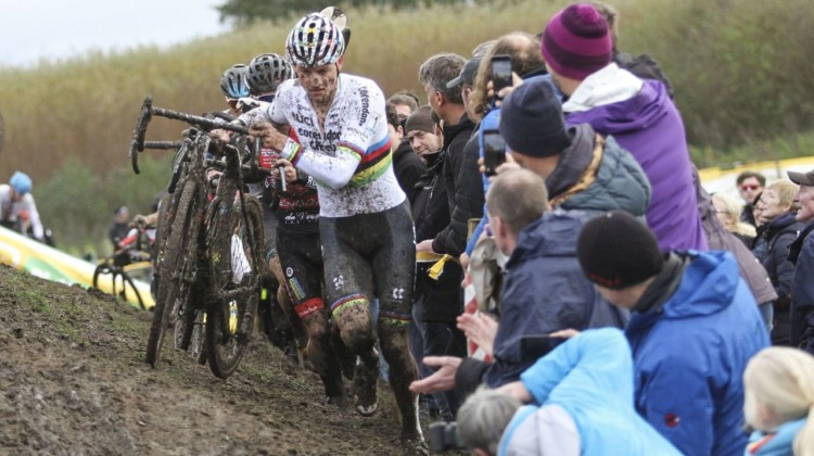 Fans get up close and personal as the Elite Men run one of the off-cambers. 2019 Superprestige Ruddervoorde. © B. Hazen / Cyclocross Magazine