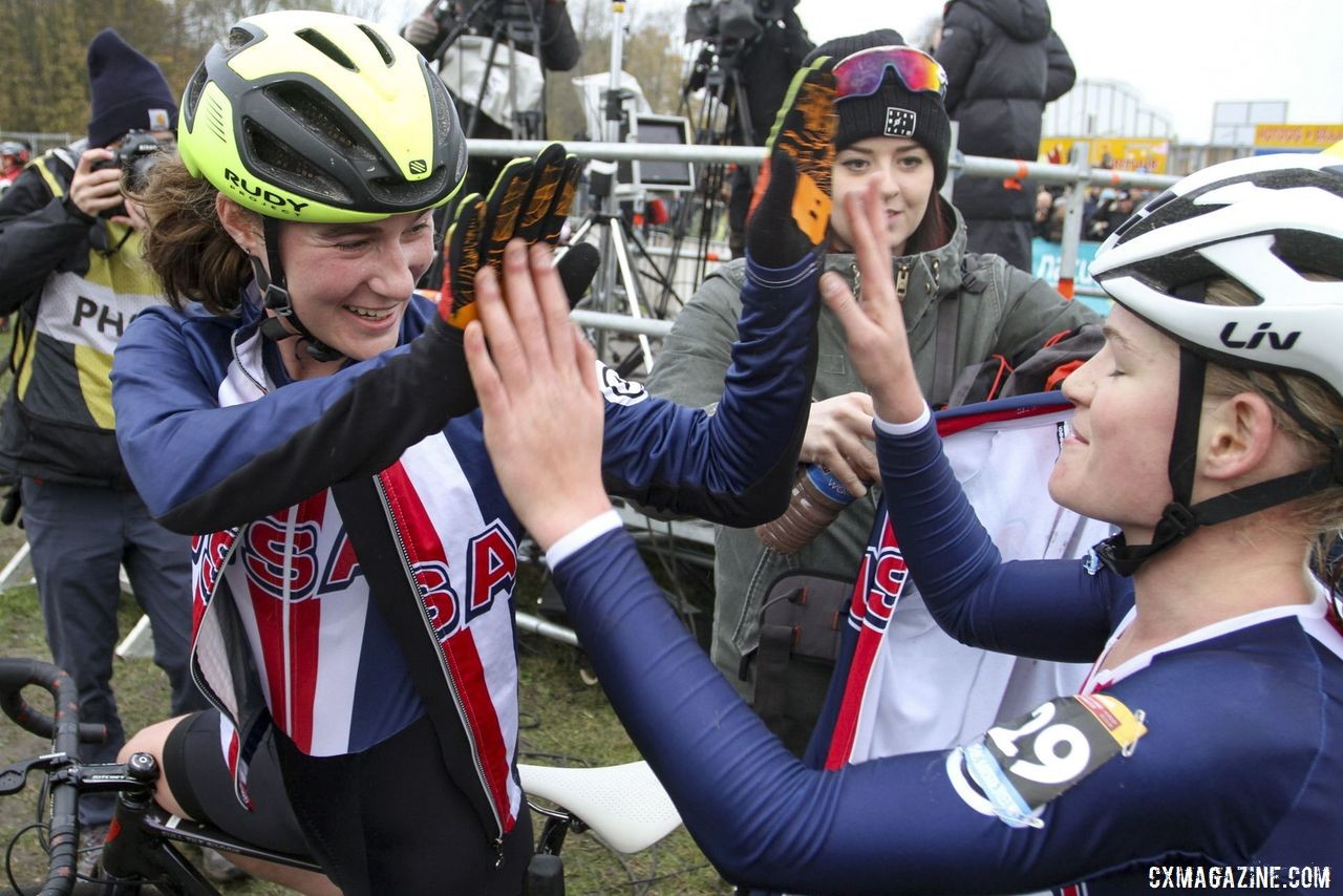 Mallory Shannon and Cassidy Hickey catch up afterwords. 2019 World Cup Koksijde. © B. Hazen / Cyclocross Magazine