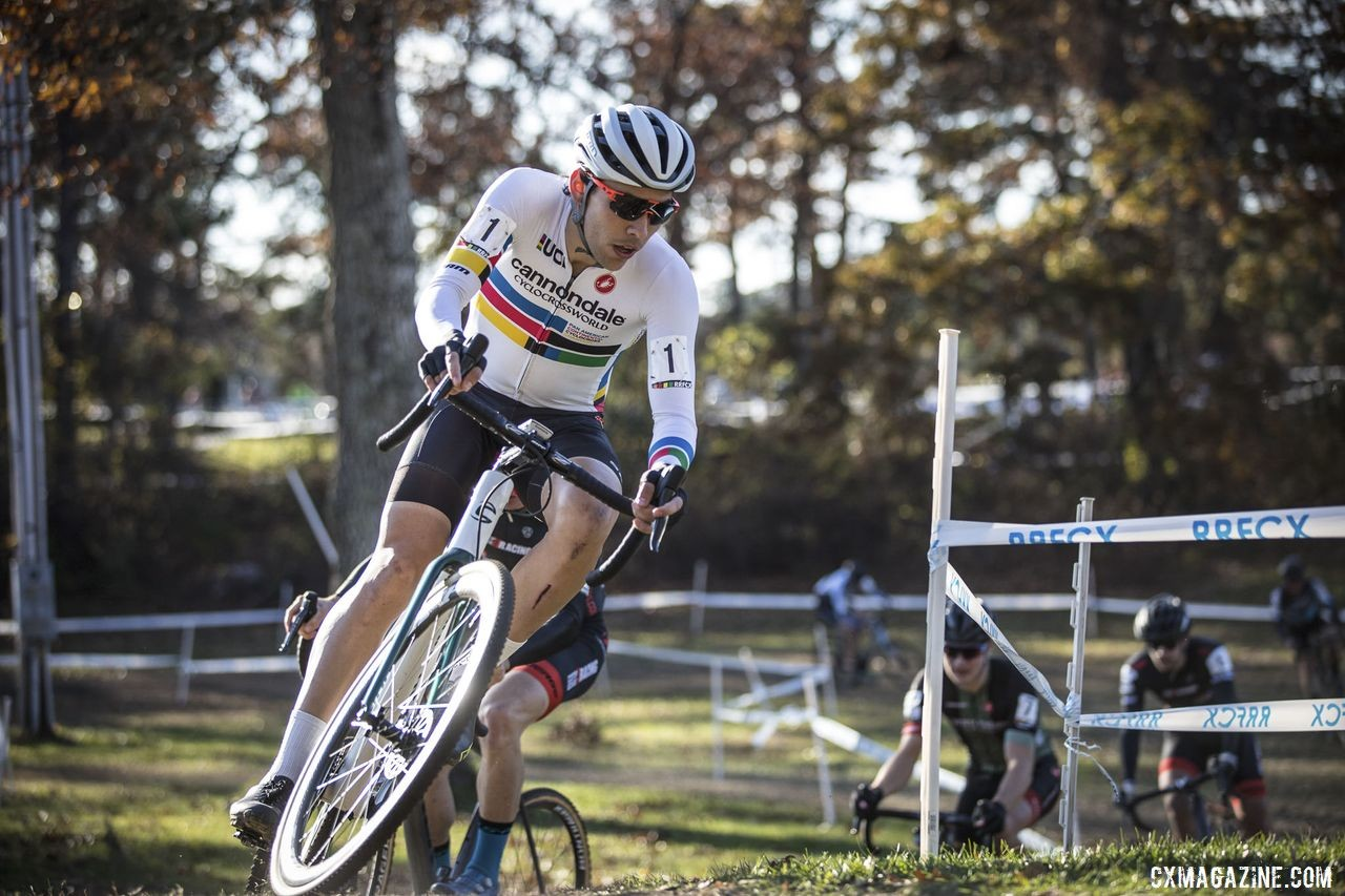 Curtis White waited to attack and then made the most of it. 2019 Really Rad Festival of Cyclocross Day 2. © Angelica Dixon