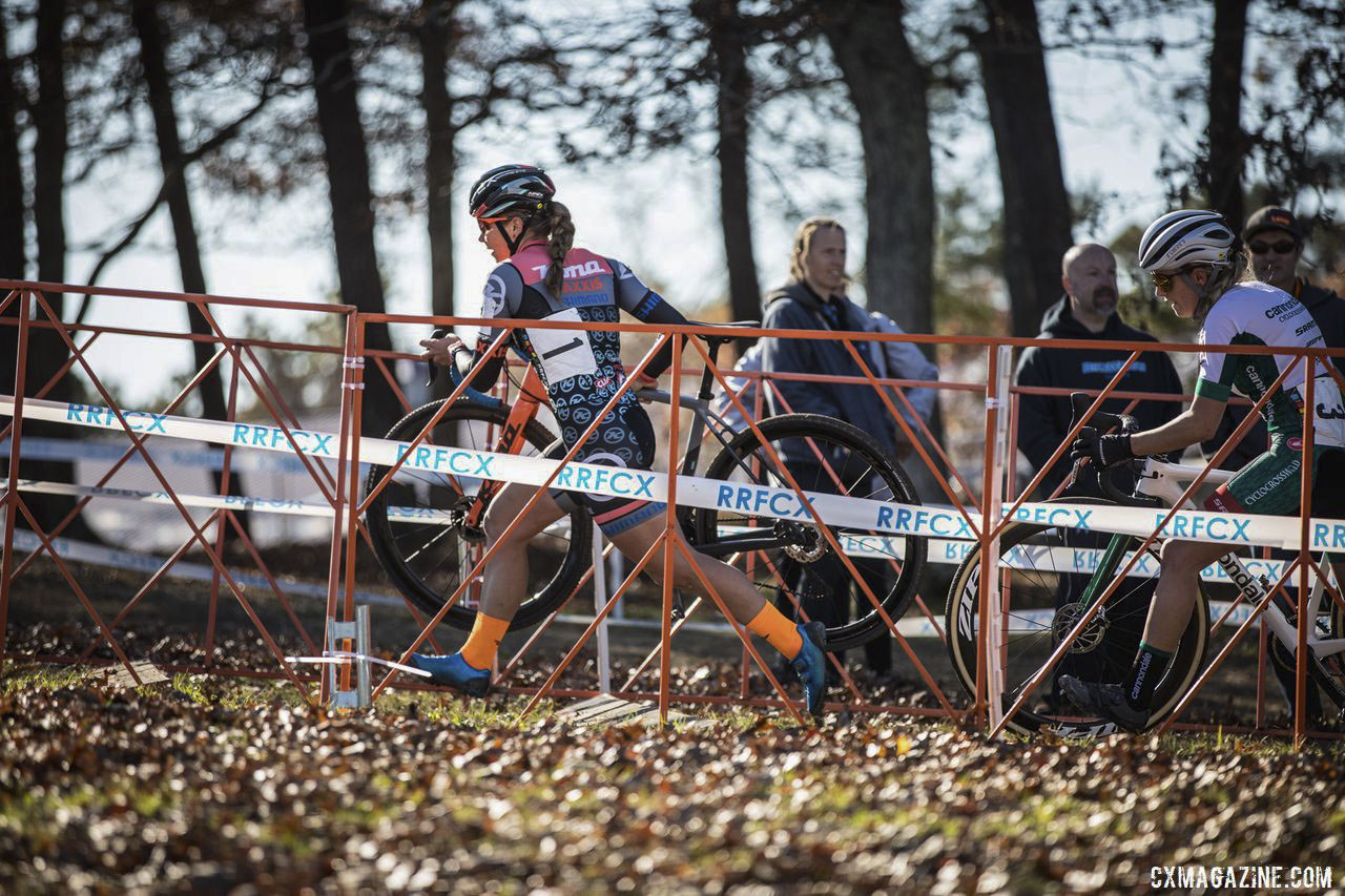 Becca Fahringer helped animate the front of the Elite Women's race. 2019 Really Rad Festival of Cyclocross Day 1. © Angelica Dixon
