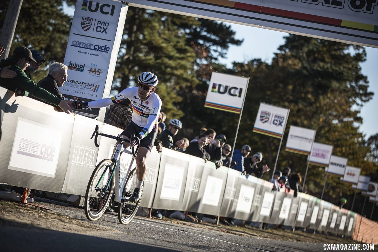 Curtis White celebrates his latest win. 2019 Really Rad Festival of Cyclocross Day 1. © Angelica Dixon