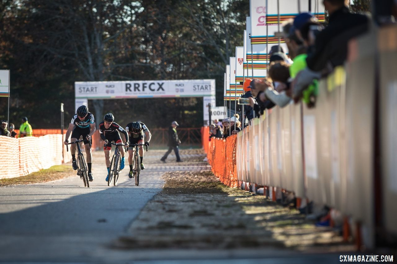 Ortenblad beat out a group to take second on Day 1 of the 2019 Really Rad Festival of Cyclocross. © Angelica Dixon