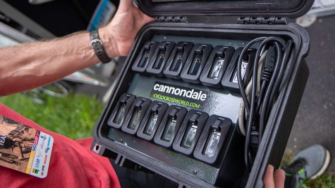 Stu Thorne's team designed a charging case for the team's batteries. © A. Yee / Cyclocross Magazine