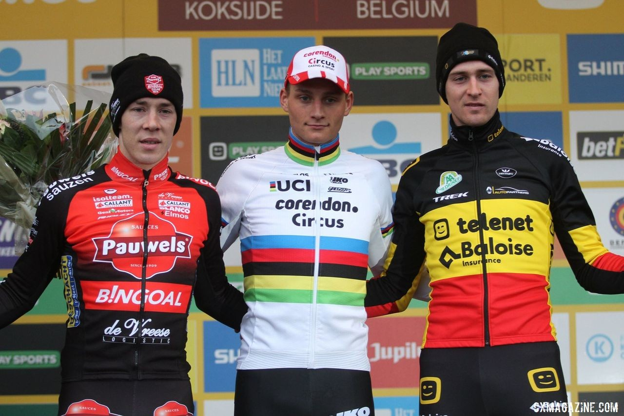 Elite Men's podium: Mathieu van der Poel, Laurens Sweeck and Toon Aerts. 2019 World Cup Koksijde. © B. Hazen / Cyclocross Magazine