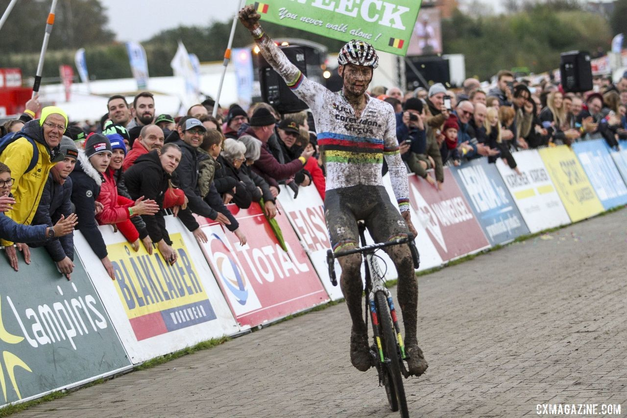 Mathieu van der Poel celebrates his win in his first cyclocross race of the season. 2019 Superprestige Ruddervoorde. © B. Hazen / Cyclocross Magazine