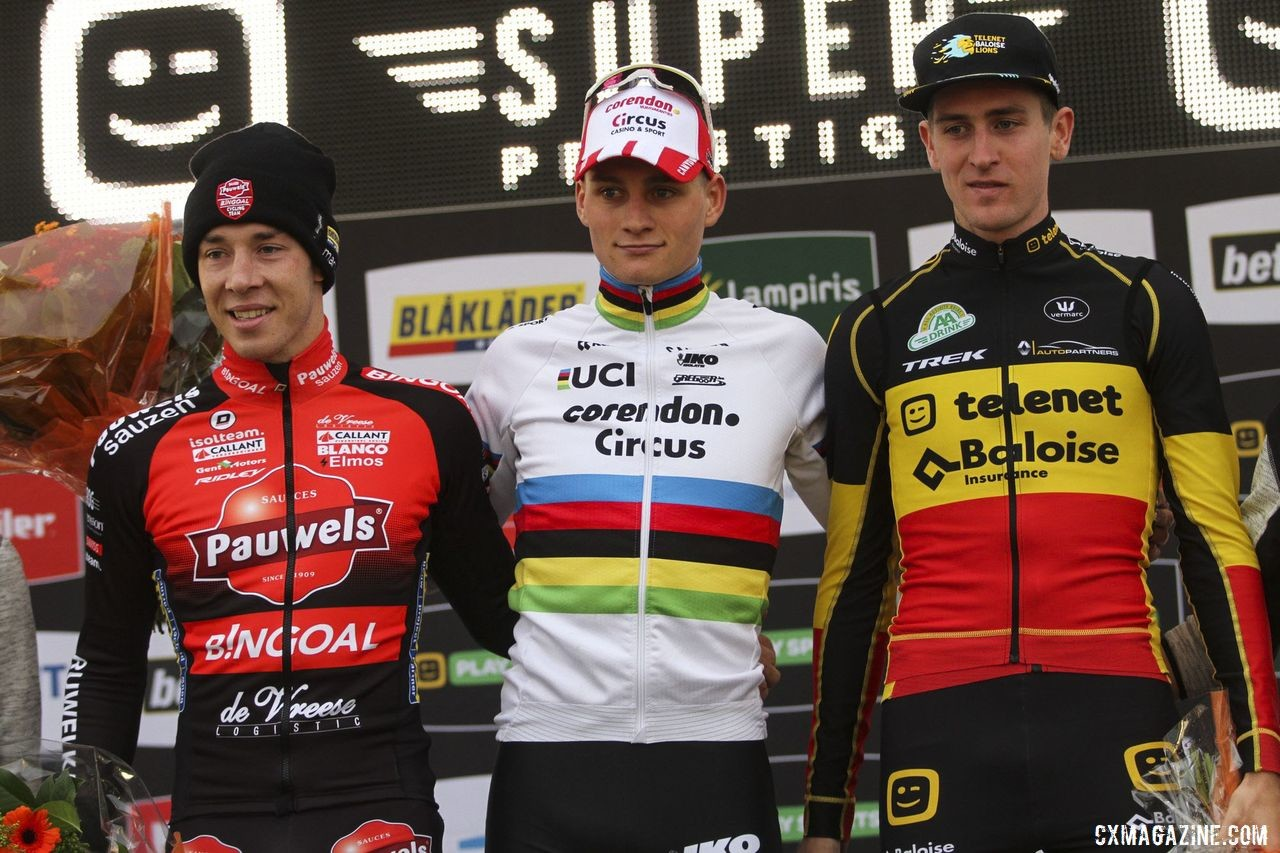 Elite Men's podium: Mathieu van der Poel, Laurens Sweeck and Toon Aerts. 2019 Superprestige Ruddervoorde. © B. Hazen / Cyclocross Magazine