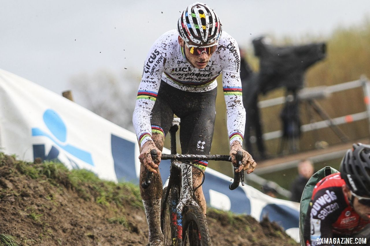 Mathieu van der Poel faced a tough challenge from the Pauwels Sauzen team. 2019 Superprestige Ruddervoorde. © B. Hazen / Cyclocross Magazine