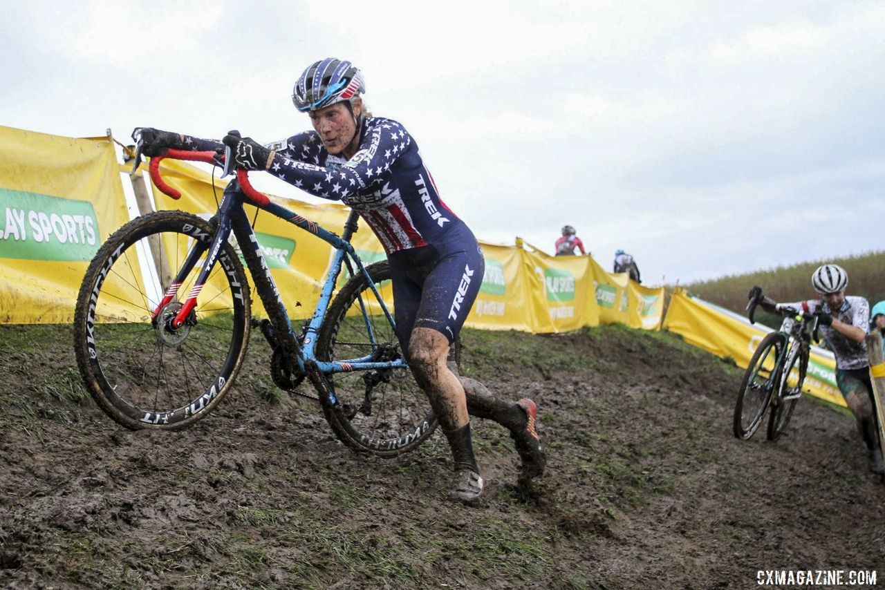 Katie Compton and Kaitie Keough had strong efforts on Sunday. 2019 Superprestige Ruddervoorde. © B. Hazen / Cyclocross Magazine