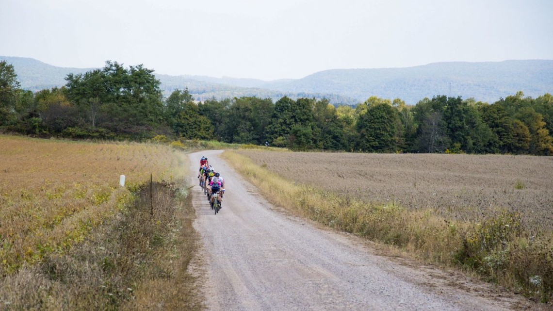 Riders roll along at THe Quick & The Dead Gravel Grinder.
