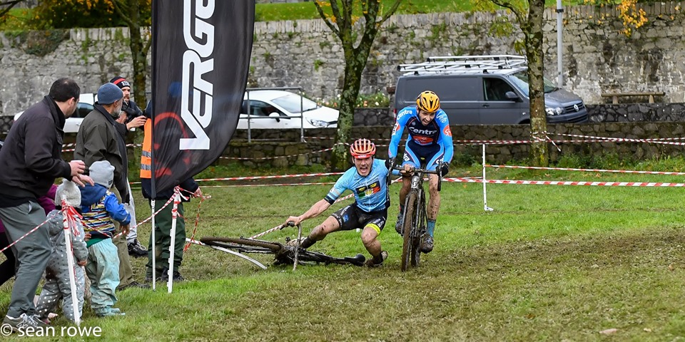 Patrick grabbed Robert's bars in a bid to stay upright. 2019 Munster CX League Race 3. © Sean Rowe
