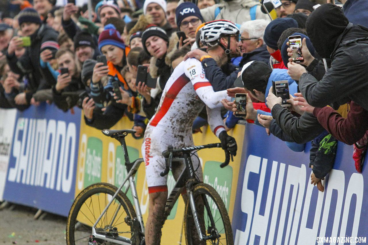 Mathieu van der Poel will take the Tabor start line with a heavy heart after the passing of his grandfather Raymond Poulidor. 2018 Telenet UCI World Cup Nommay. © B. Hazen / Cyclocross Magazine
