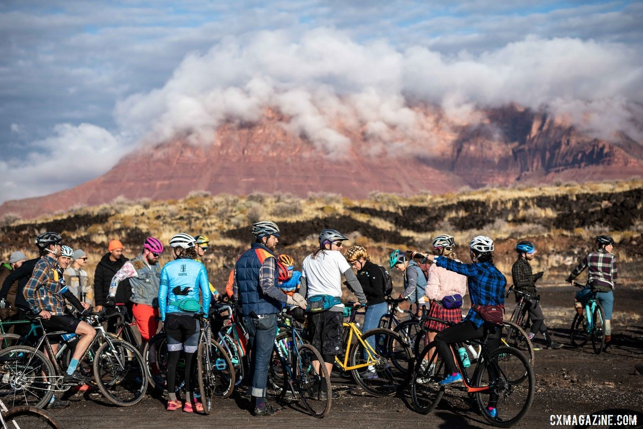 The event took place in a black lava field with incredible scenery. 2019 Singlespeed Cyclocross World Championships, Utah. © Jeff Vander Stucken