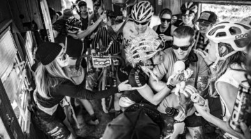 Sarah Sturm, Emily Kachorek and about a dozen more of the women racers packed the trailer for the Men's Final. Words and pictures do not do justice the craziness that ensued. 2019 Singlespeed Cyclocross World Championships, Utah. © Jeff Vander Stucken