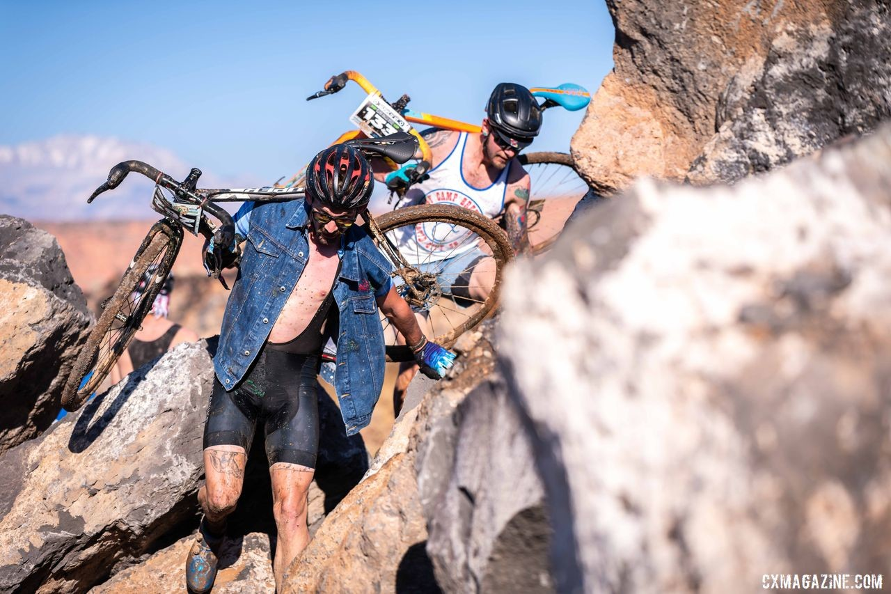 One of the late course changes involved bouldering. 2019 Singlespeed Cyclocross World Championships, Utah. © Jeff Vander Stucken