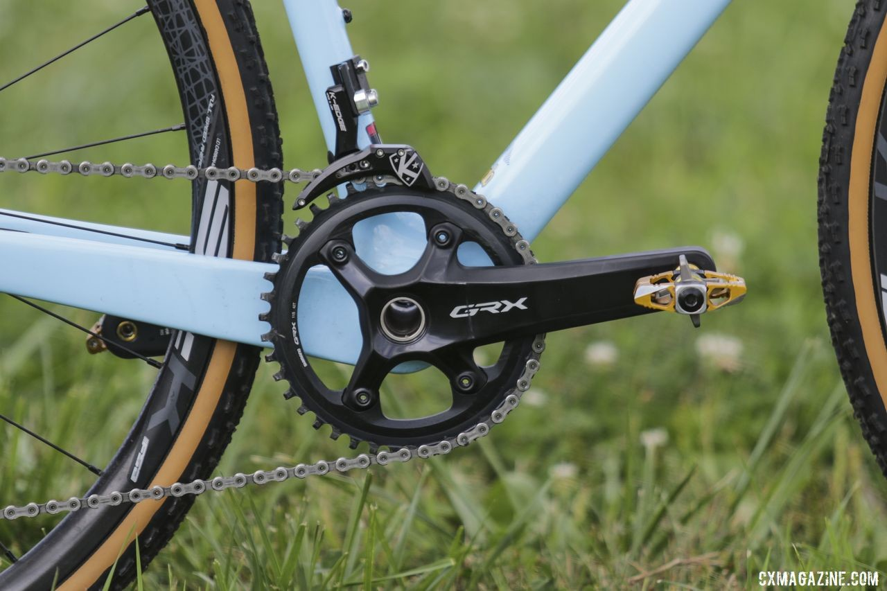 Hecht ran a Shimano GRX RX810-1 crankset with a 42t chain ring. Gage Hecht's 2019 Donnelly C//C Cyclocross Bike. © Z. Schuster / Cyclocross Magazine