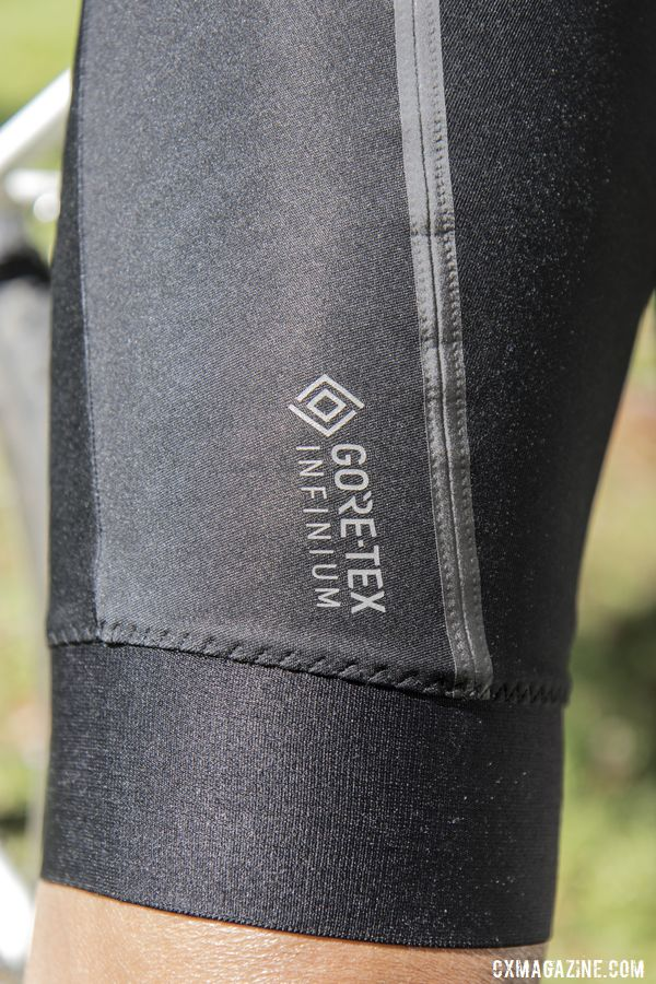 The Infinium Bib Shorts fit snugly on the leg. Gore Gore-Tex Infinium Line. © C. Lee / Cyclocross Magazine