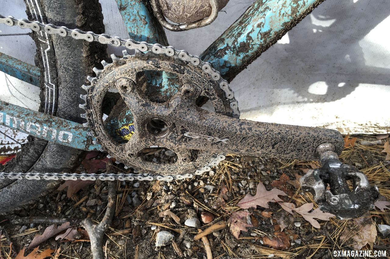 Kabush went 1x for Iceman this year, running a GRX 810-1 crankset with a 42t chain ring in the front. Geoff Kabush's 2019 Iceman Cometh OPEN WI.DE. © B. Grant / Cyclocross Magazine