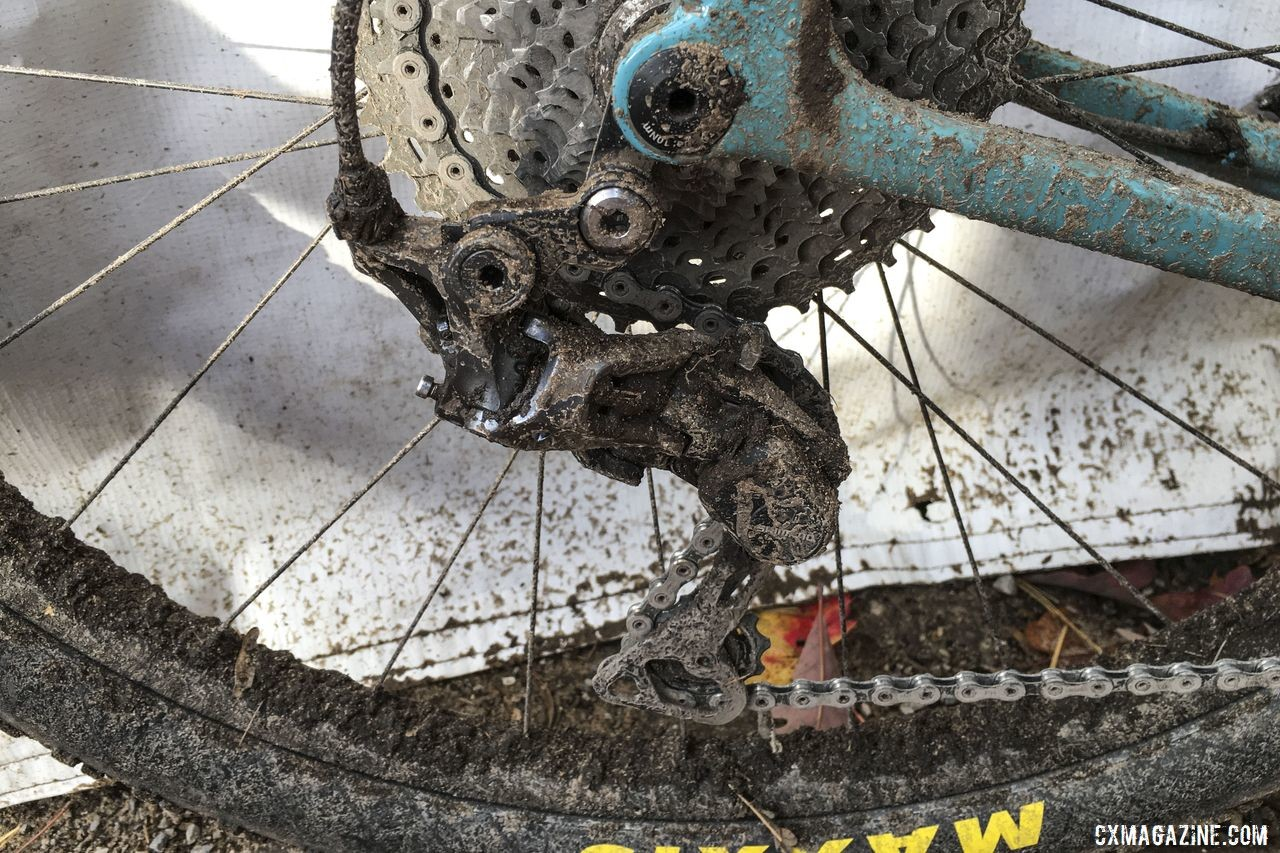 Running a 1x system, Kabush used the RX812 long-cage derailleur to fit an 11-40t cassette. Geoff Kabush's 2019 Iceman Cometh OPEN WI.DE. © B. Grant / Cyclocross Magazine