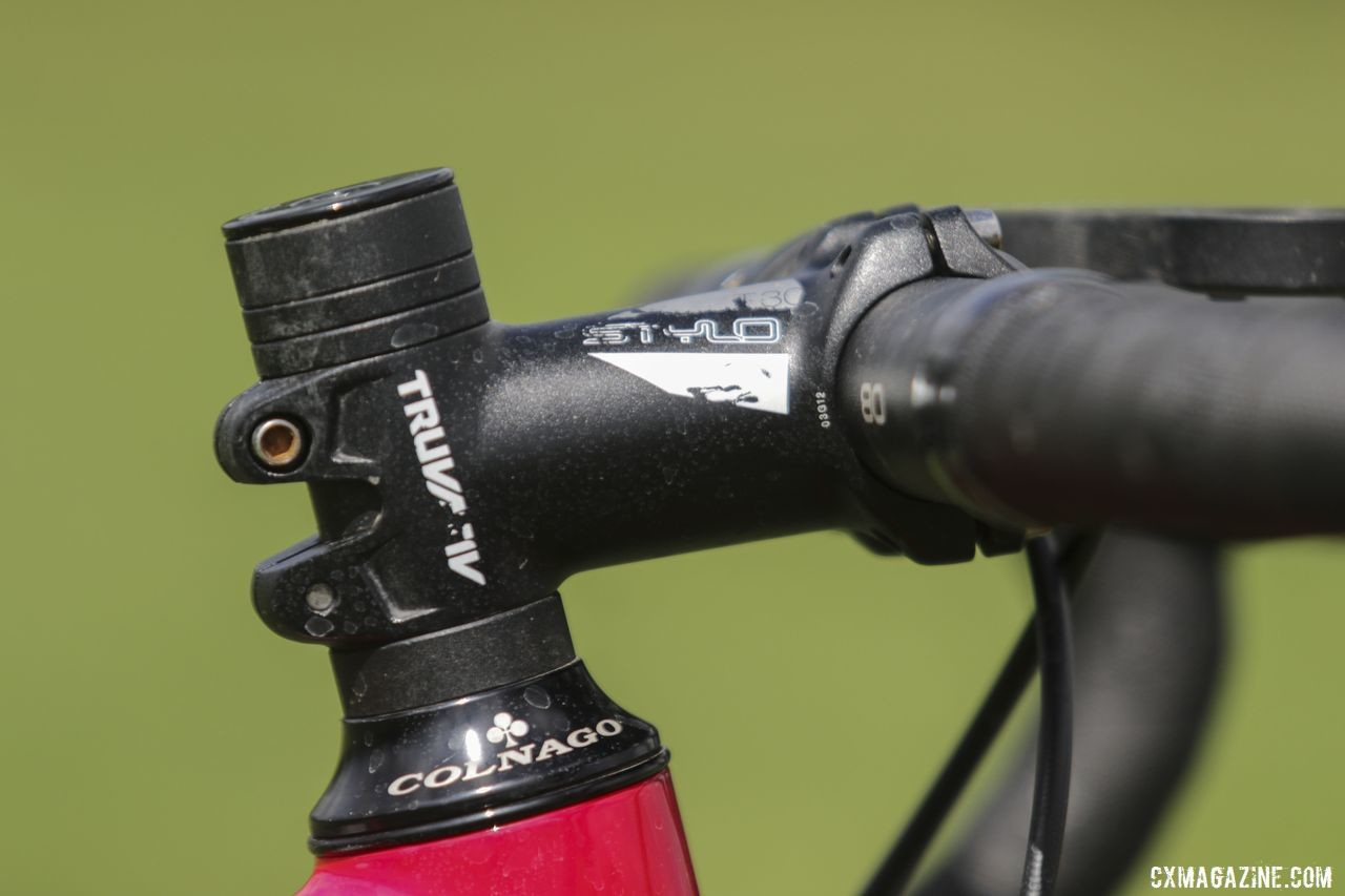 "Larkin's ""T-Rex arms"" led her to run a 75mm Truvativ Stylo stem. Maria Larkin's Colnago Prestige Cyclocross Bike. © D. Mable / Cyclocross Magazine"